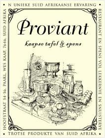 Proviant Kaapse Tafel en Spens, Paarl, Winelands, Western Cape, South Africa restaurants