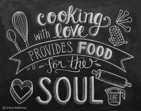 Kitchen Print - Chalkboard Art - Food Quote - Foodie Gift - Kitchen Typography - 11 x 14 Print - Hand Lettering via Etsy