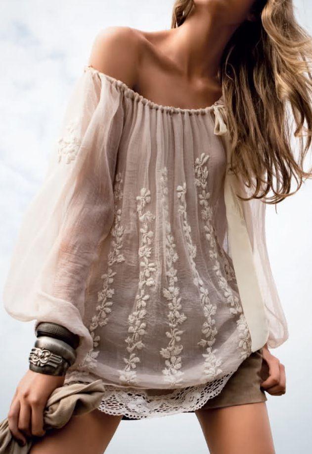 I really like the shirt! I kinda wish it wasn't falling off of her, though.