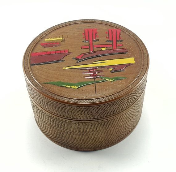 Asian Coaster Set Wood Hand Painted 8 Coasters by MelroseMemories
