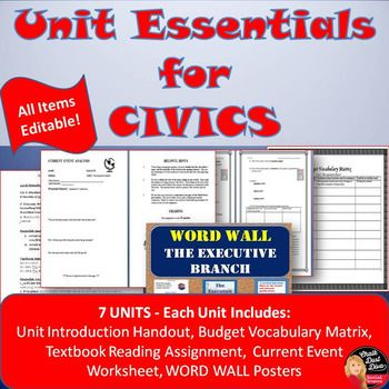 Unit ESSENTIALS FOR CIVICS This purchase includes handouts to preview the Units taught in 12th grade Civics (California standards). Note: Handouts can be revised. If you live in another state you can change the state standards. #civics #u.s.government