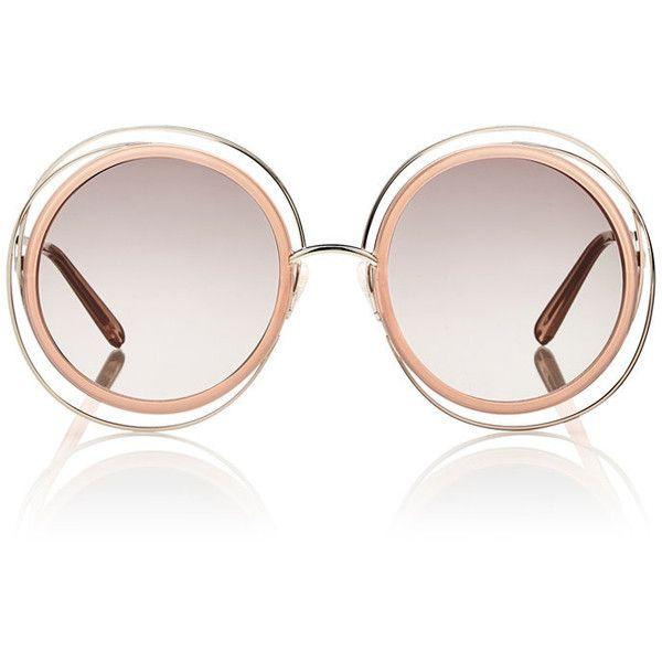 Chloé Carlina Sunglasses found on Polyvore featuring accessories, eyewear, sunglasses, multi, chloe eyewear, brown gradient sunglasses, clear eyewear, round sunglasses and oversized round glasses