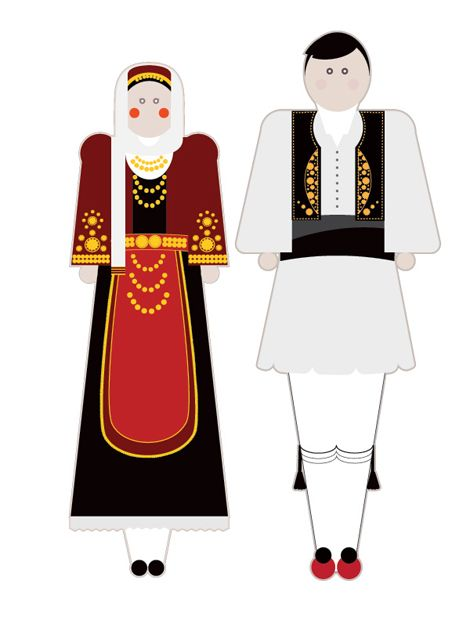 Greek traditional clothes illustrated in a POP way.