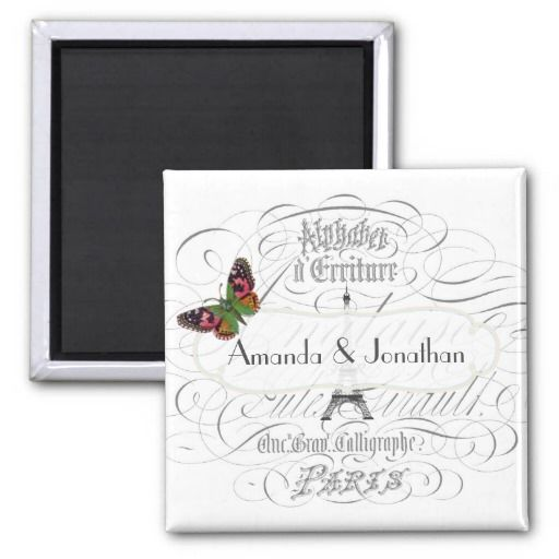 Vintage Paris Wedding Personalized Commemorative 2 Inch Square Magnet