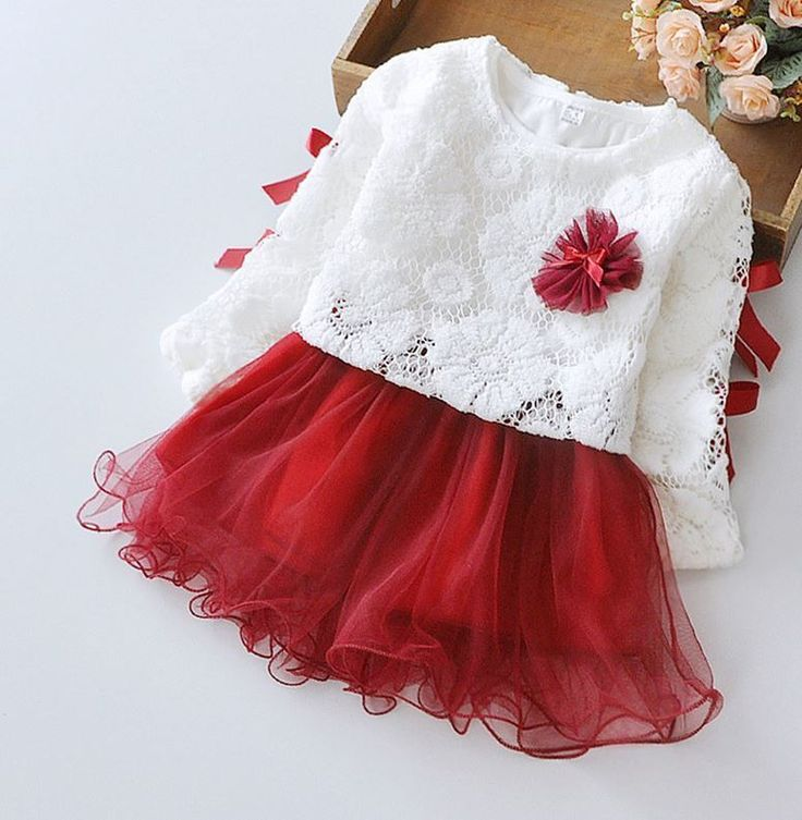Cute baby dress is made of cotton embroidered lace long sleeve top. This dress is a set: a tutu long sleeve dress with a beautiful deep red color skirt, with an white sweater embroidery, lace top. So pretty for her for Christmas dinner picture...