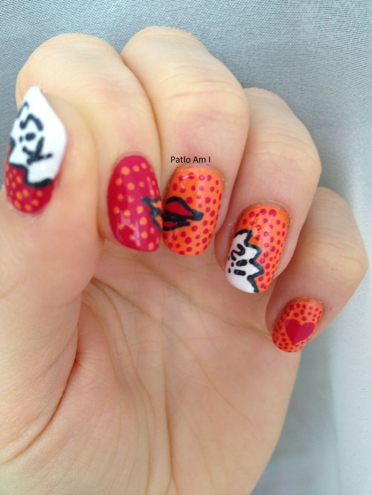 Comics nails. nail art. www.patloami.blogspot.com