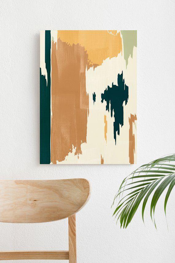 Abstract Scandinavian Painting Burnt Orange And Teal Mid Etsy Scandinavian Painting Teal Wall Art Abstract Art Prints Teal and orange wall art
