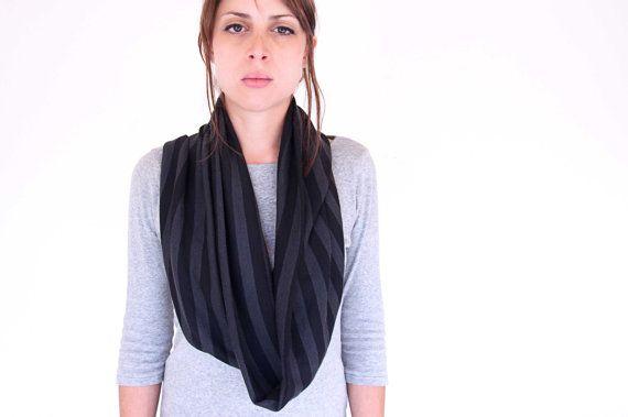 Soft tube scarf  circle loop neckwarmer  black by clothbotshop