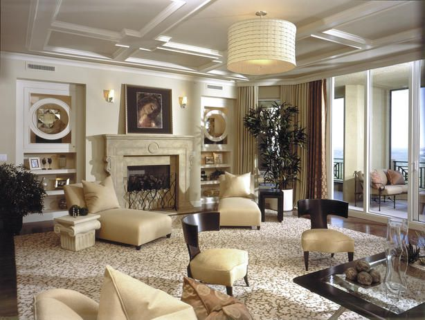 1940s inspired living with coffered ceilings love built for Glam modern living room