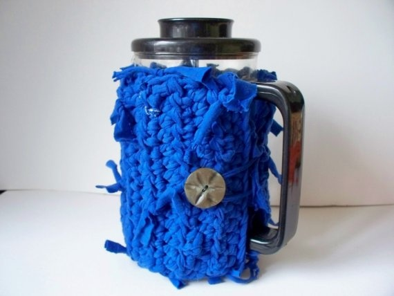 Recycled French Press  Cozy Crocheted by soulybarb on Etsy,