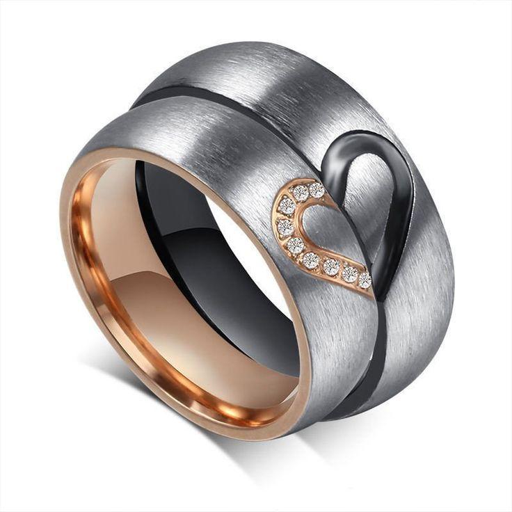 2PCS Heart Shape Stainless Steel Wedding Promise Band Brushed Couple Ring Set