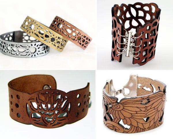 Awesome #lasercut leather bracelets from Sahirah1.