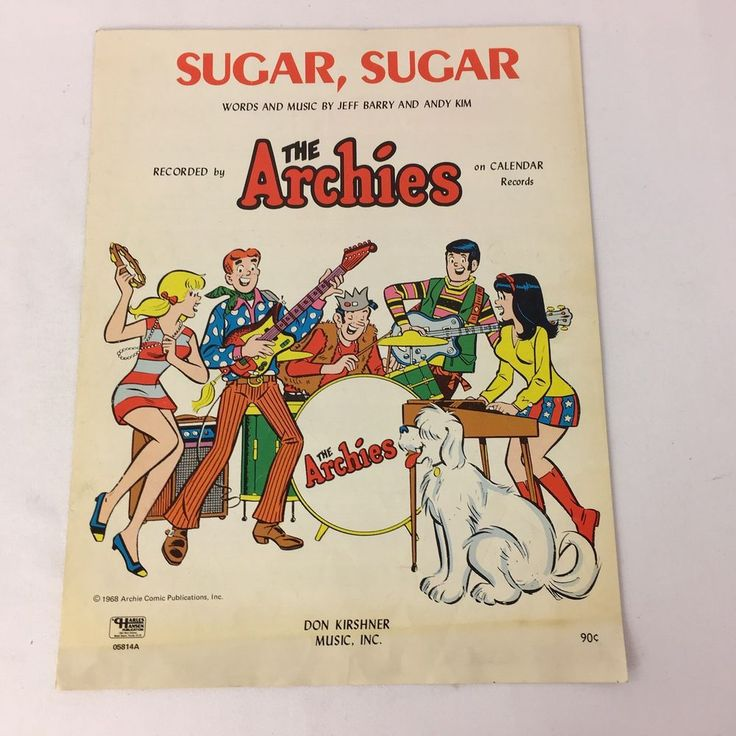 The Archies Sheet Music Sugar Sugar 1968 Jeff Barry and Andy Kim