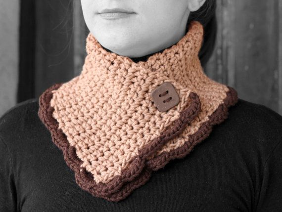 Neck Warmer Beige & Brown by MmeDefargeYarnworks on Etsy.
