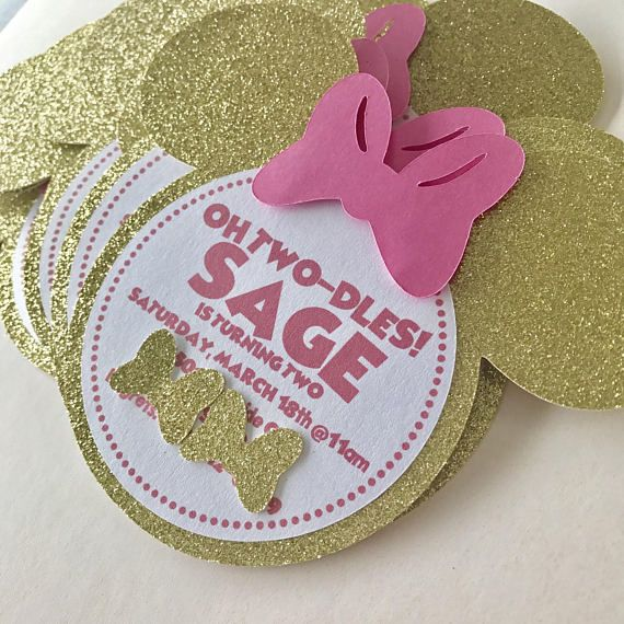 Minnie Mouse Pink and Gold Glitter Sparkle Birthday Party shower invitations