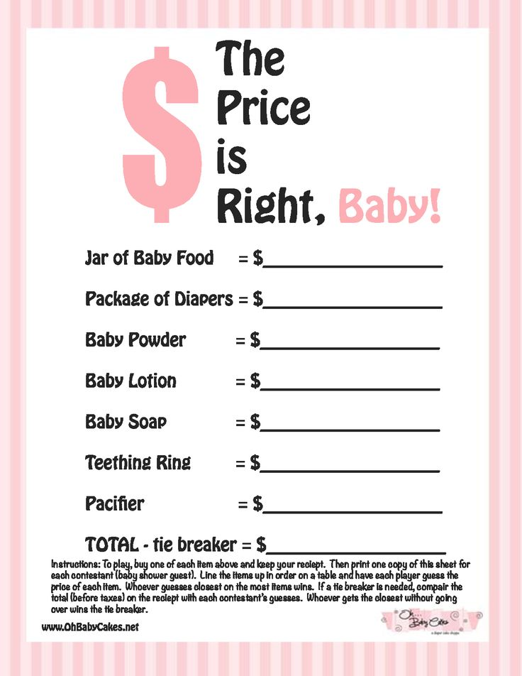 Baby Shower Games | The Price is Right Baby Shower Game (Pink)