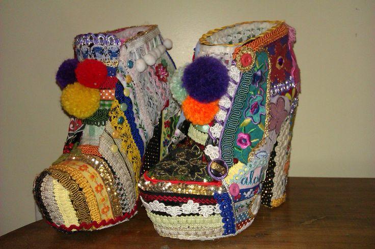 Embellished Shoes using pompoms, braiding, lace, etc