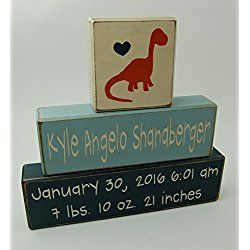 Dinosaur Theme - Primitive Country Wood Stacking Sign Blocks-Personalized Custom Name and Birth Stats-Baby Gift-Birth Announcement-Baby-Boys/Girls Nursery Room Home Decor