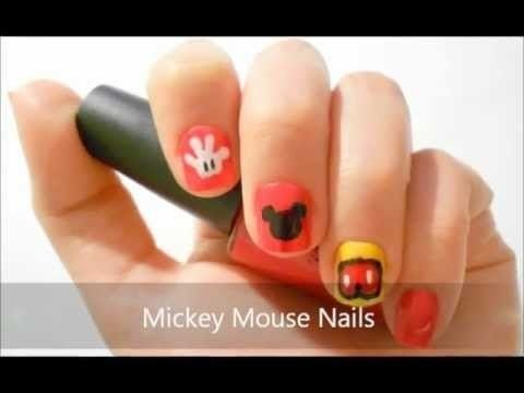 "Mickey Mouse Nail Art Tutorial...whats with the Mickey Mouse themed nails?...i guess its ""in"" now...????"