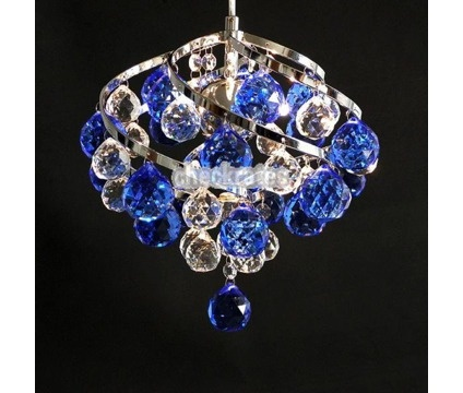 BNIB Contemporary Blue Crystal Chandelier Ceiling/Pendant Light is a Blue Lamps, Lighting & Ceiling Fans for Sale in Philadelphia PA