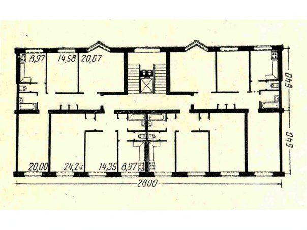 Поэтажный план секции типовой серии кирпичных домов СМ-6. С сайта www.vk.com/club1618109