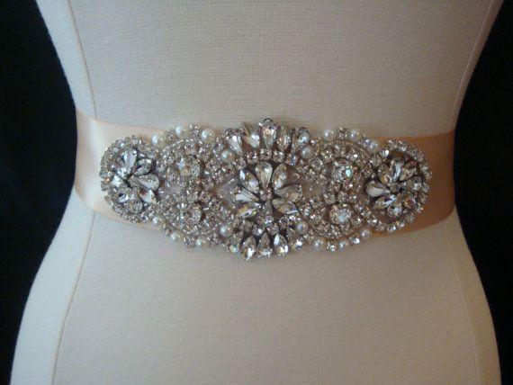 Bridal Sash  Wedding Dress Sash Belt  Blush by BellaFleurBridal, $60.00