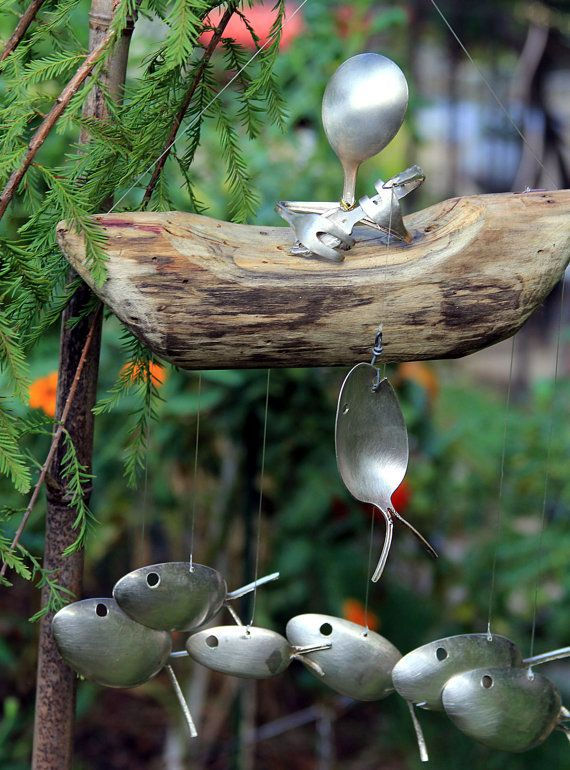 Gone Fishing garden art spoon fish wind chimes upcycled by nevastarr on Etsy, $64.95