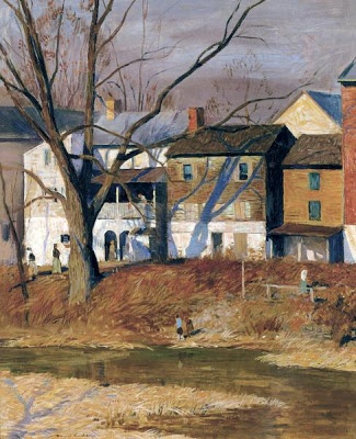 Landscape Painting 'Mechanic Street, New Hope' by American Impressionist Artist Daniel Garber