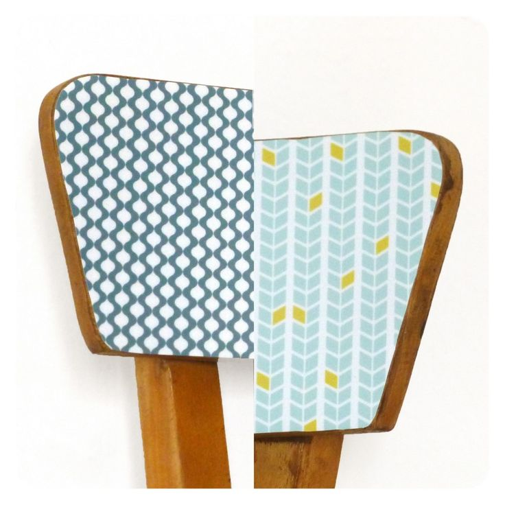 Un bel ensemble de 6 chaises vintage, piétements bois massif dont les assises ont été repeintes dans des tons pastels. Les dossiers des chaises ont été revisités et plaqués d'adhésifs plastifiés mat aux motifs colorés de ma création. Des pièces originales qui apporteront beaucoup de gaité autour de votre table. Le prix correspond à …