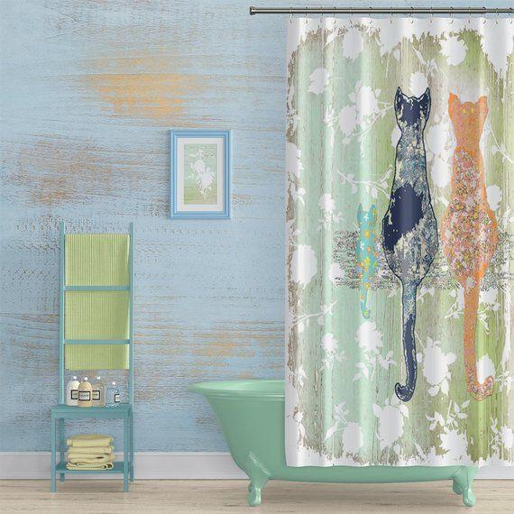 Shabby Chic Cat Shower Curtain Shabby Chic Bathroom Decor Cats
