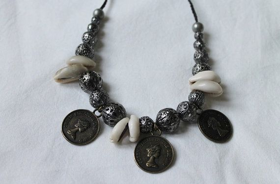 Coins, filigree beads and cowrie shells; Bohemian Queen necklace, handmade by SuryaSoul, €28.00