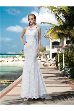 All Sizes Floor-Length Halter Sleeveless Natural Appliques Button Trumpet/Mermaid Wedding Dress