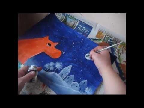 Учимся рисовать , урок 4 , Рисуем гРыжий  Пес  .Акрилом. Painting with Y...