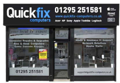 """""""Quickfix Computers Ltd is a privately owned IT Supportcompany operating from our head office in Banbury, Oxfordshire.  T: Banbury 01295 251581 T: Redditch 01527 509100"""""""