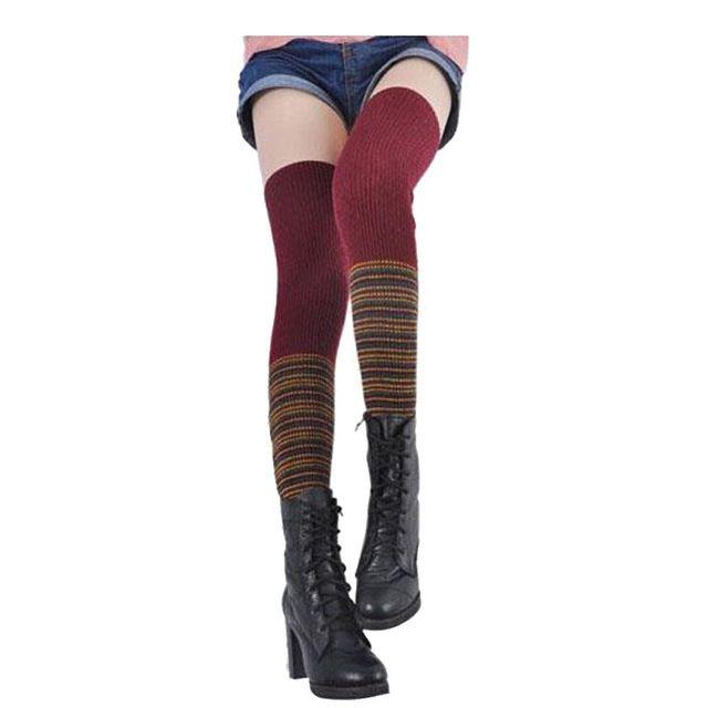 À tricoter Femmes cuisse haute Chaussettes Jambières Boot Couverture Arc mosaïque sur genou chaussettes Calcetines vente