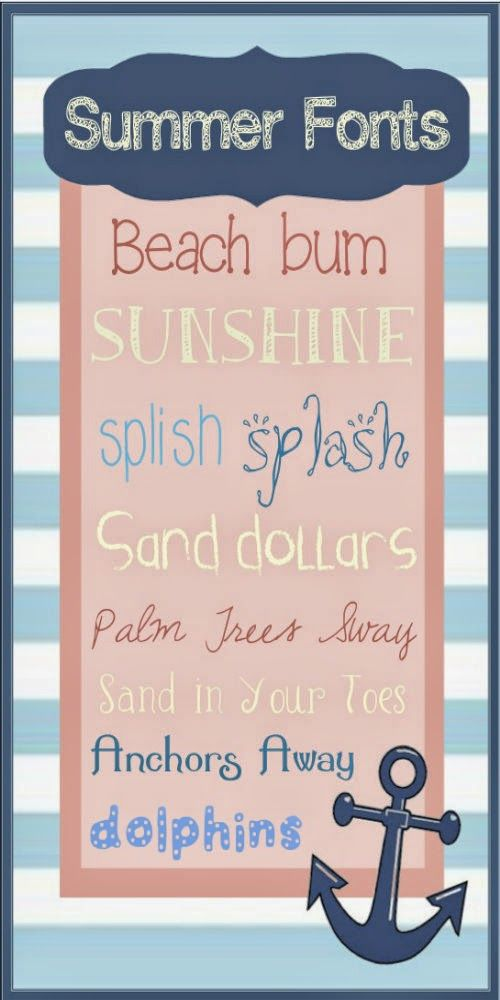 Top Ten Summer Fonts for FREE!!  Come check them out at Melly Moments and find yourself these free downloads.  They are my favorite nautical, summery fonts out there.  www.mellymoments.com