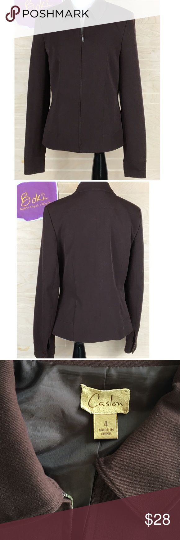 Nordstrom Caslon Women's Full-zip Jacket, Brown 4 Flawlessly chic, this EUC Caslon full-zip jacket from Nordstrom's is a staple for every woman's fall wardrobe. Rich chocolate brown pairs perfectly with all your neutrals or deep fall colors. Pair with fall's IT color, deep red for an amazing lux look. No stains. Size 4, please see Measurements in photos. No trades, offers welcome. Caslon Jackets & Coats Blazers