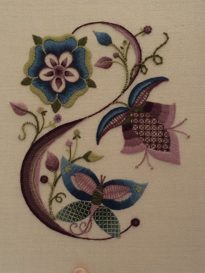 Jacobean Crewelwork by Certificate student Veronica Marrie, Royal School of Needlework