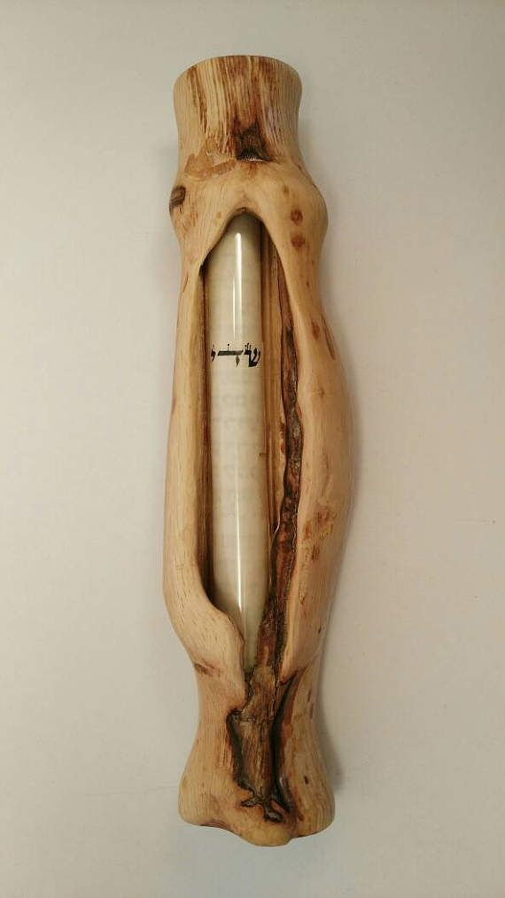 Mezuzah glass Oak wood mezuzah jewish giftsolive wood