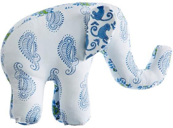 Rikshaw Organic Taj Blue Patch Elephant Decorative Pillow