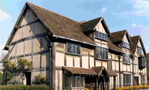 Shakespeare's Birthplace from Henley Street. He grew up here and spent the first 5 years of his marriage to Anne Hathaway in this home.