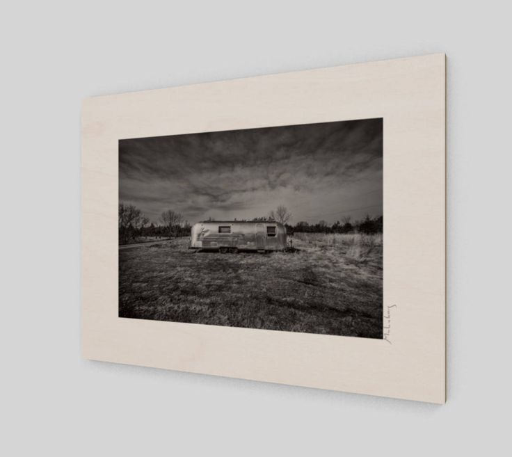 Airstream wood print photograph gary mulcahey black white photograph wee dog canadian photography vintage trailer wall art