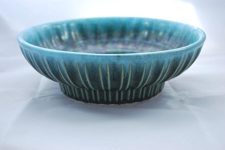 Hull Pottery Green Blue Drip Glaze Planter   Pattern A 12  Hull USA Old Pottery #vintage