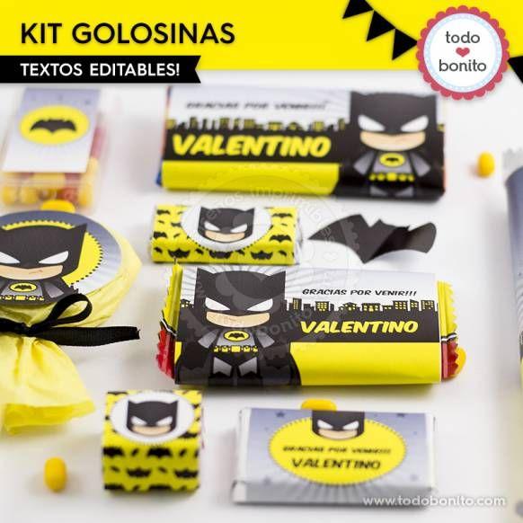 Batman: kit etiquetas de golosinas