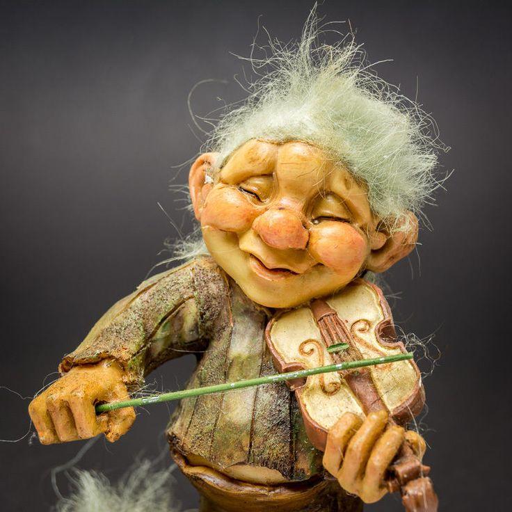 Norwegian Swedish Old Troll Man Playing Violin Scandinavian Norway Sweden