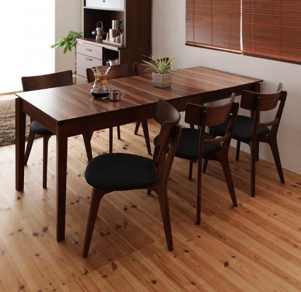 ダイニングテーブル セット 完成品の通販|Wowma! ダイニングテーブルセット/天然木スライド式伸縮テーブルリビング 7点/6人
