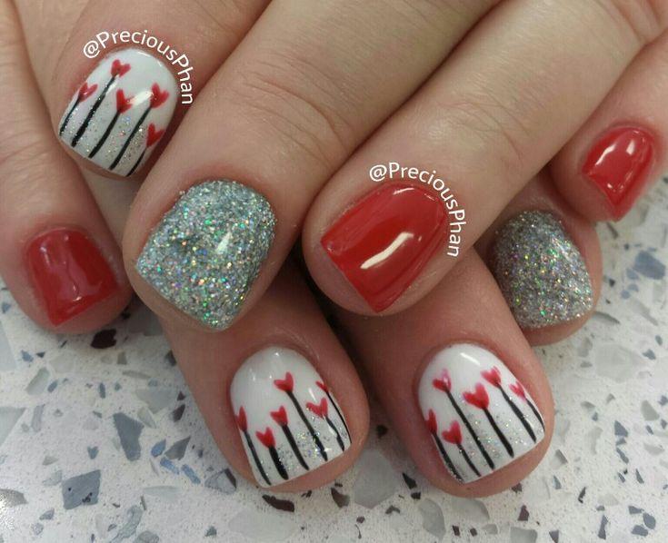 Heart flower nails. Valentine nails