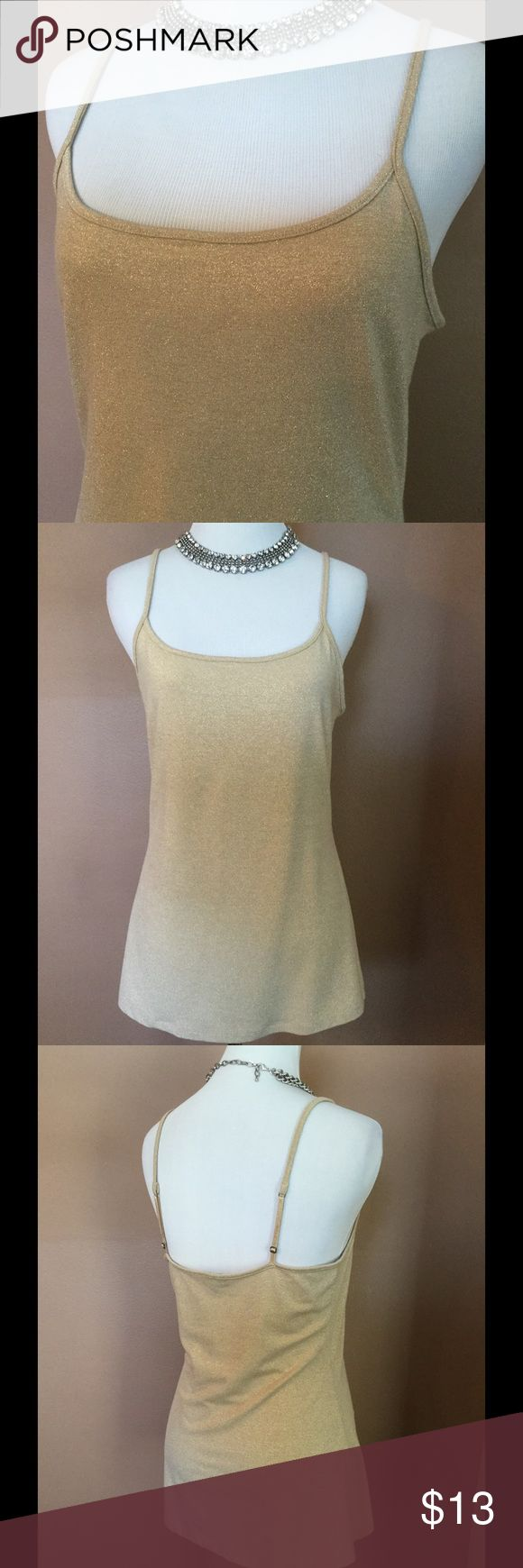 🆕 Express Gold Metallic Cami Top ! ⭐️  Express Gold Metallic Top ! Adjustable straps ! Great to dress up or wear with jeans ! Hand wash ! Excellent condition ! Beautiful ! ⭐️ Express Tops