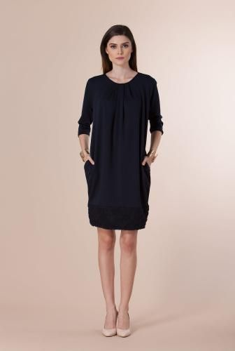 Rochie bleumarin cu buzunare din jerse CV15157 -  Ama Fashion