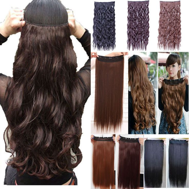 140g 17inch 43cm 5 clips on Curly Wavy clip in hair extensions Heat resistant fiber Many colors available